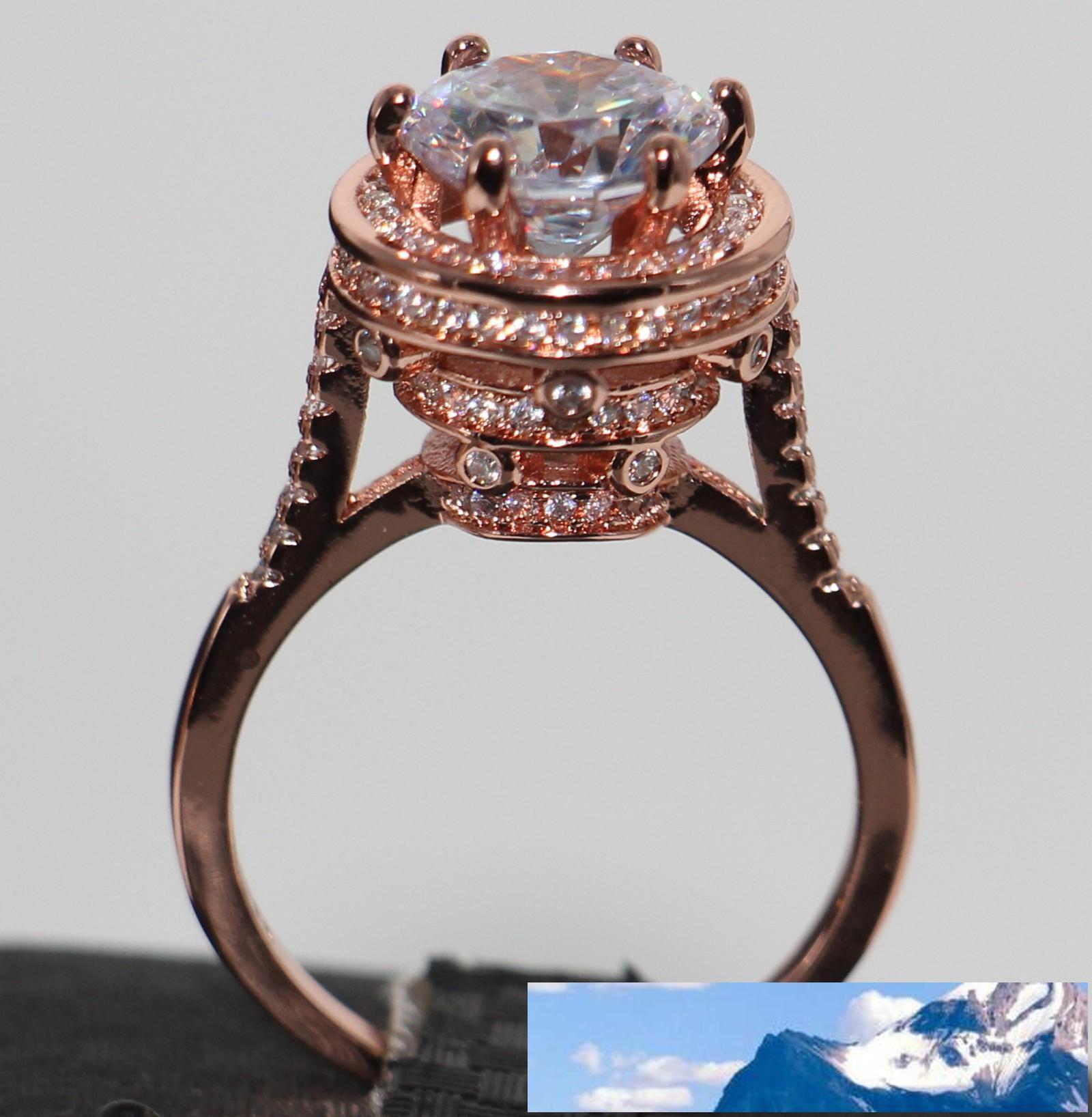 أزياء اليدوية والمجوهرات 925 فضة مطلية بالذهب حمامة بيضة توباز جولة قص الأحجار الكريمة المرأة خاتم الزفاف الفرقة