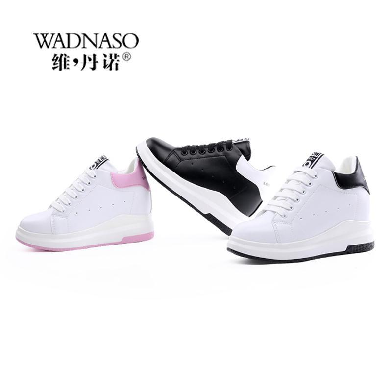WADNASO высота увеличилась повседневная женщина Клин платформа кроссовки зашнуровать дышащий скрыть каблуки Женская обувь женский XZ108 MX200425