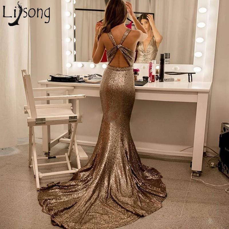 New Arrival Sequins Mermaid Evening Dress Long Sexy Backless Prom Dresses Elegant Party Gown Sleeveless V Neck Robe de soiree