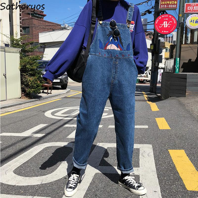 Jumpsuits Women Embroidery High Waist Big Pockets Leisure Autumn Playsuits Womens Korean Style Retro High Quality Chic Bodysuits Y19071701