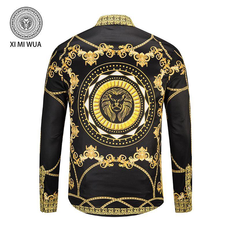 couleur noire chaîne en or et lion imprimé chemises à manches longues hommes occasionnels de la mode motif géométrique pour collier + patte de boutonnage