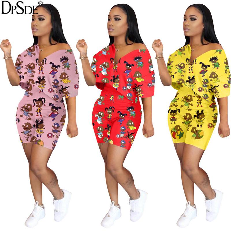DPSDE kadınlar 2020 yeni gündelik hip hop tarzı setleri kısa kollu v boyun üst elastik kısa pantolon 3 renk iki parçalı set baskılı