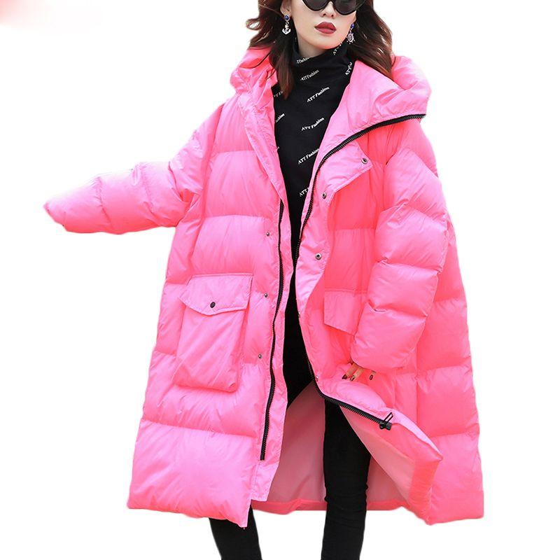Jaqueta de inverno para baixo das mulheres novas soltas longos de algodão-acolchoado casacos com capuz feminino quente para baixo casaco jaqueta senhoras parkas