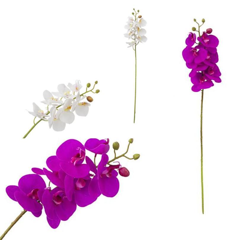 Реального сенсорного Бабочка цветок орхидеи Поддельного Cymbidium PU фаленопсис Орхидея белой / фуксия цветы для свадебного Centerpieces искусственных цветов