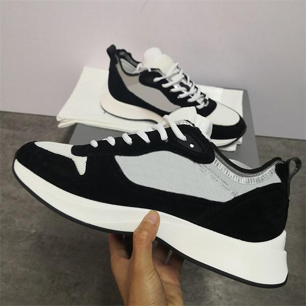 Erkek B25 Sneakers Siyah Gri Eğik Runner Ayakkabı Vintage Platformu Gerçek Deri Erkekler Eğitmenler Beyaz Açık Espadrilles Ayakkabı Üst Kalite