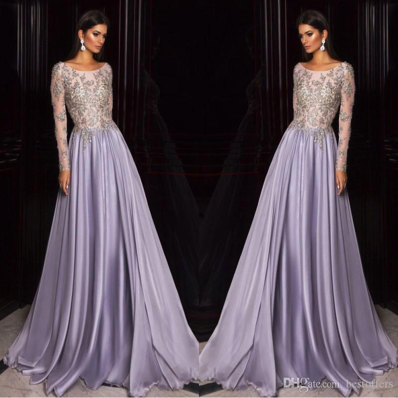 Elie Saab Lavendel Dubai Arabisch Kaftan Lange Ärmel Ballkleider 2019 Gold Stickerei Sheer Neck Celebrity Dress Party BC0556