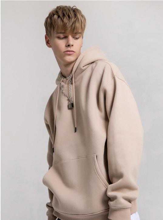 2020 otoño e invierno nuevo color sólido, además de terciopelo con capucha parejas estadounidenses suéter marea marca de gran tamaño Europea y