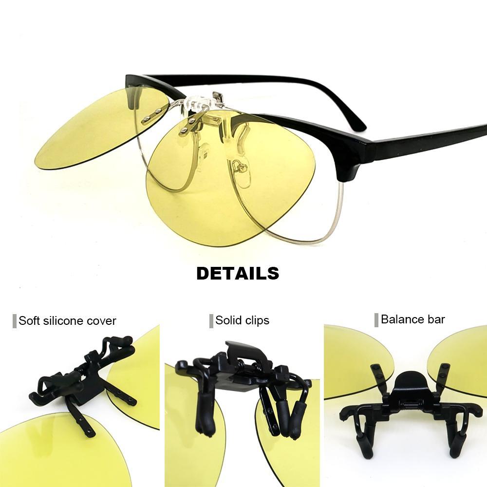 Night Vision flip up Clip su occhiali da sole fotocromatiche Uomini Colore Giallo Modifica clip Pilot Lens guida miopia Occhiali