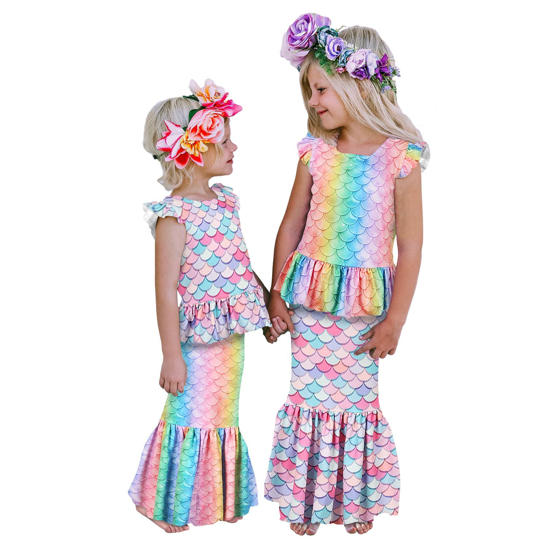 2Pcs Kid Girl Mermaid T Shirt Top Long Dress Skirt Outfits Set Cosplay Custom US
