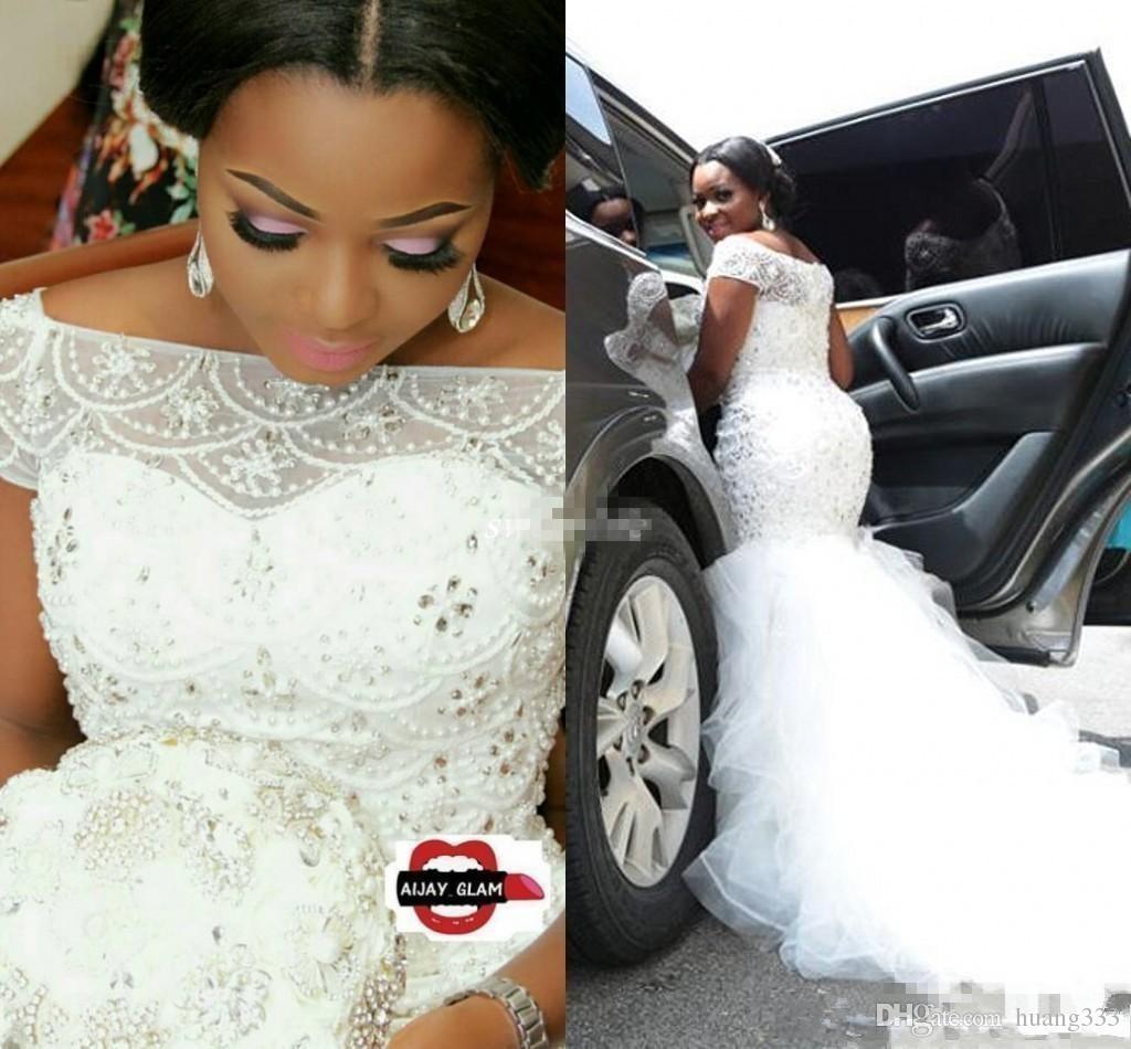 Горячая Африканская Нигерия Русалка Свадебные платья с плеча Кристалл бисером Многоуровневые оборками Придворный поезд Пользовательские Плюс Размер Формальные свадебные платья BC4
