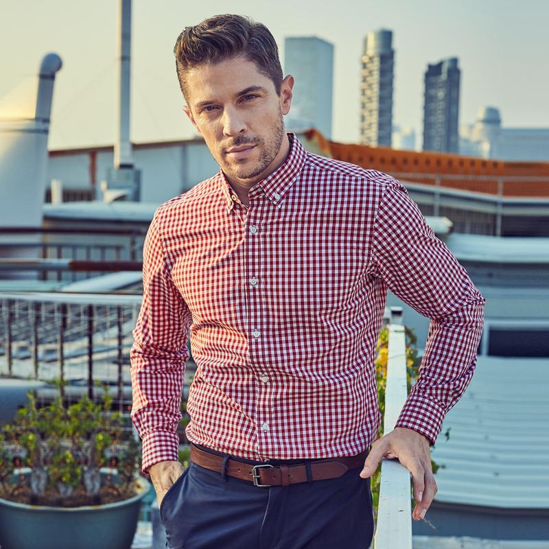 Artı boyutu Gömlek Erkekler İthal Moda Chemise Homme Ekose Casual Slim Fit Uzun Kollu Gömlek Camisa Masculina% 100 Pamuk