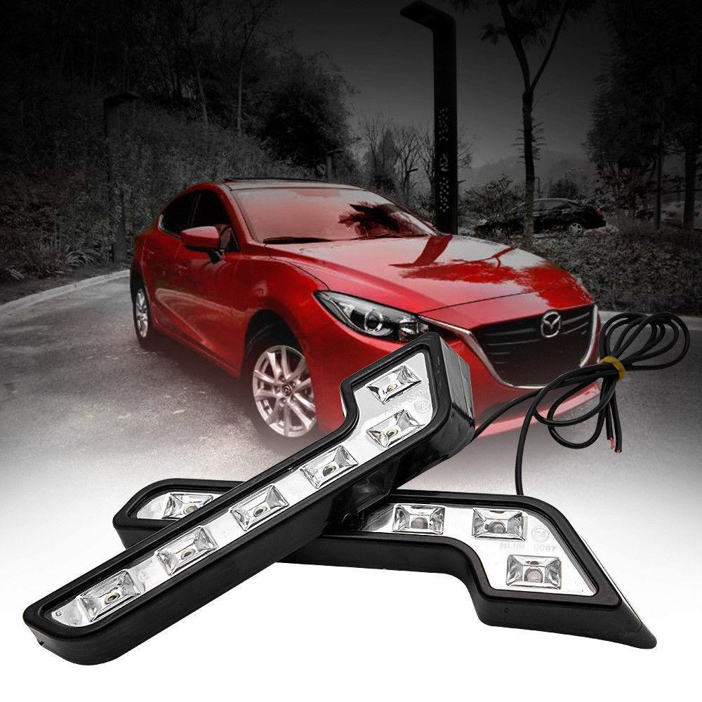 2pcs Universal 12V 6 LED voiture diurne lumière Auto antibrouillard avant Lampe véhicule étanche Extérieur voiture avant Lumière