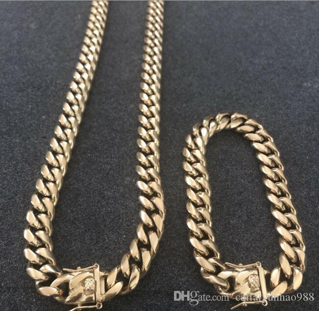 12mm homens cubano miami link bracelete conjunto conjunto 14k banhado a ouro aço inoxidável