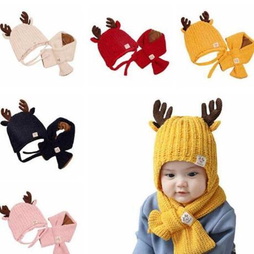 Christmas Baby Strickmütze Kind Milu Deer Horn Hat In Wolle Schal 2 Stück Kinder im Freien Süßigkeit-Farben-Winter-warme Schal-Hut WY234Q