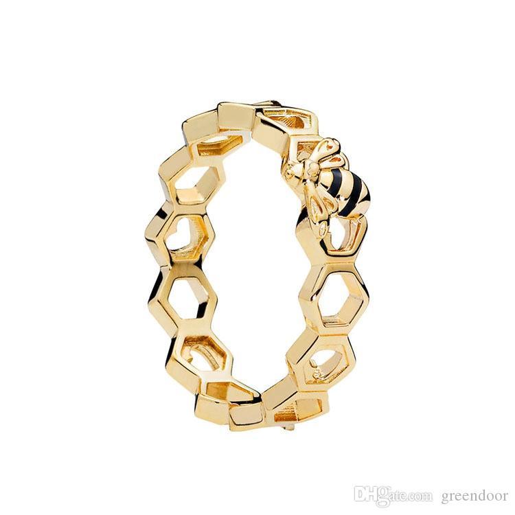 abejas oro amarillo de 18K Anillos sistema de la caja original para Pandora plata de ley 925 de panal para los accesorios de moda muchachas de las mujeres