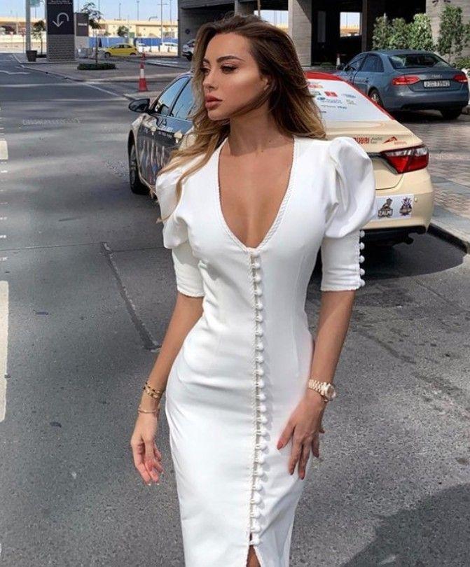 디자이너 여성 의류 보헤미안 bodycon 미니 드레스 퍼프 슬리브 버튼 여성 패션 봄 고체 흰색 캐주얼 드레스 섹시한 V 넥 분할 드레스