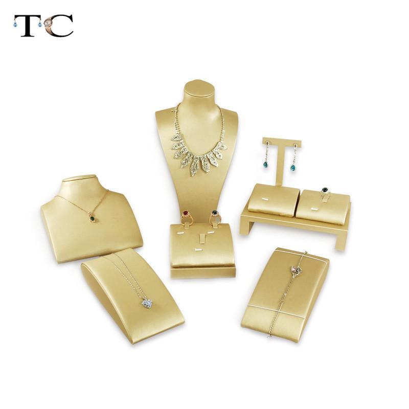 2020 Fashion Gold Pu Leather Jewelry Display Stand Ring Earrings Necklace Holder Jewelry Display Rack Organizer From Jewelrydisplay 123 62 Dhgate Com