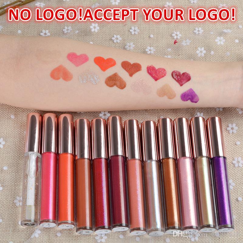 NO LOGO! 12 цветов блестящего блеск увлажняющего масла блеска для губ водонепроницаемой долговечен жидкая помада не принимать настроенную печать логотипа