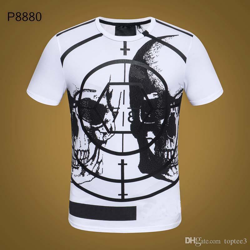 PP Yaz Erkek Marka Tshirt Kafatası Baskı perçin Boncuk Tops Moda Tasarımcısı Tshirt yüksek O-Boyun Kaliteli Kafatası tees # 6250