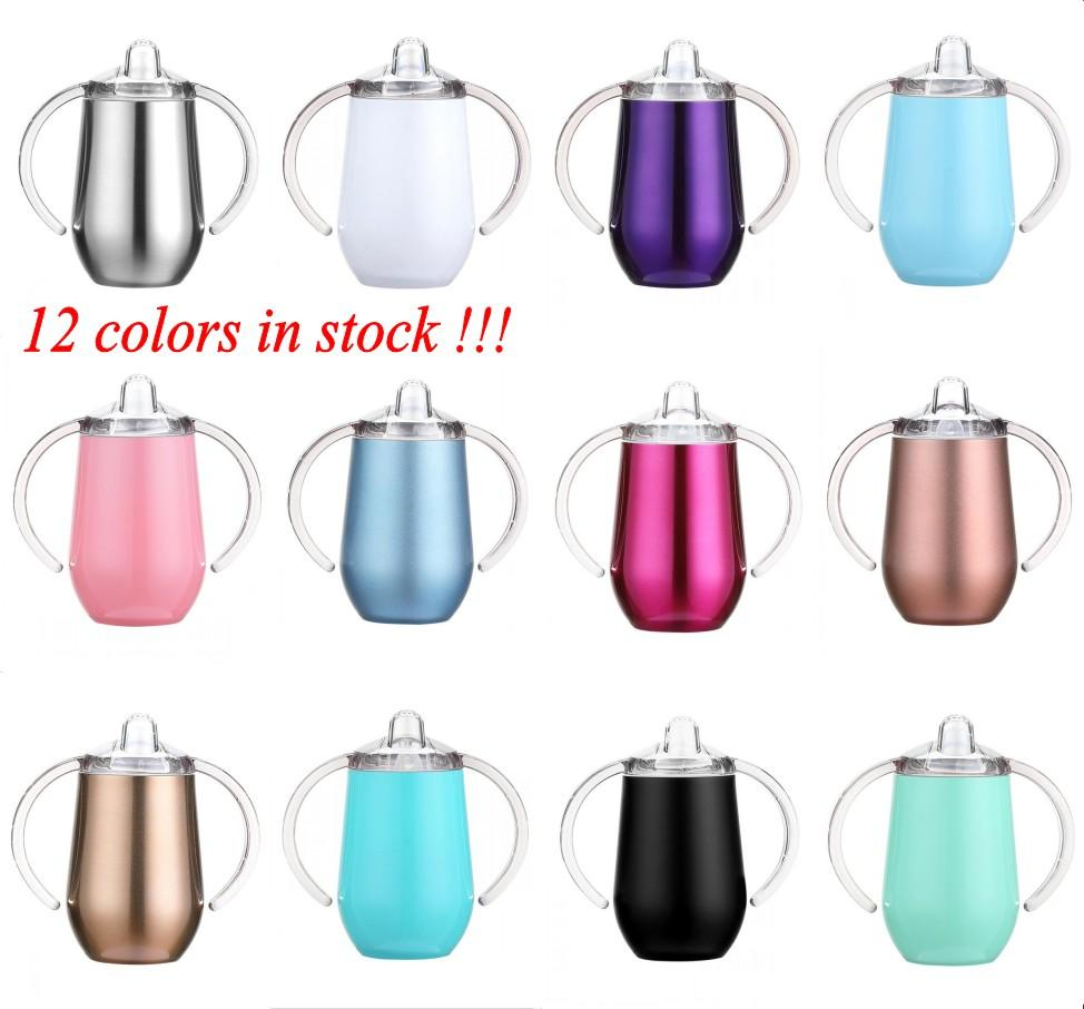 10oz Kids Water Bottle Sippy Cups Double Walled Vacuum Insulated Stainless Steel Tumblers Travel Mugs with Handle Lids