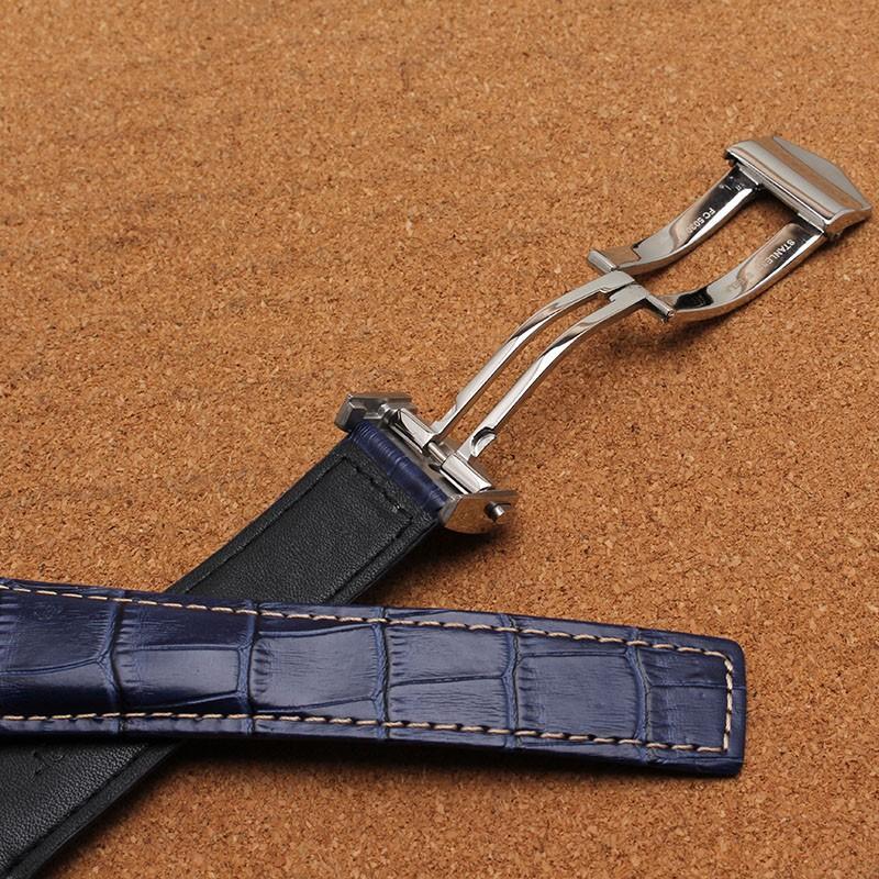Yüksek Kaliteli lacivert hakiki deri kol saati erkekler kadınlar tanıtımı için el yapımı saat kayışı 20mm 22mm 24mm İzle aksesuarları watchband