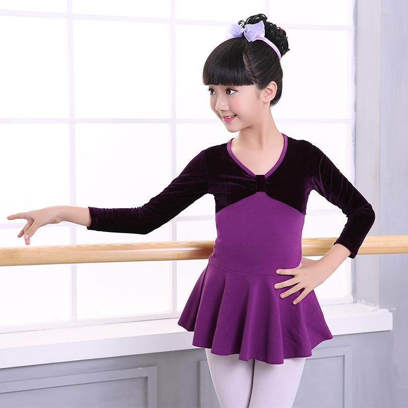 New Spring Autumn Velvet Splice Cotton Gymnastics Dance Leotard Girls Children Kids Long Sleeve Ballet Dance Dress