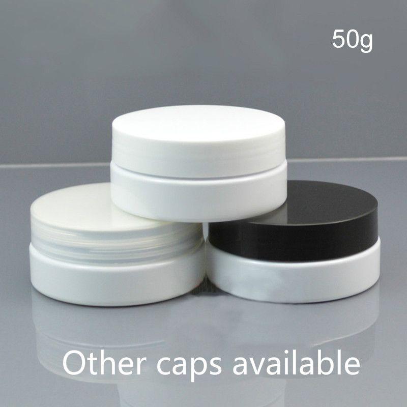 50g di plastica bianco barattolo vuoto del corpo Istituto cosmetico crema maschera Lozione bottiglia riutilizzabile Tea Travel Packaging contenitore di trasporto