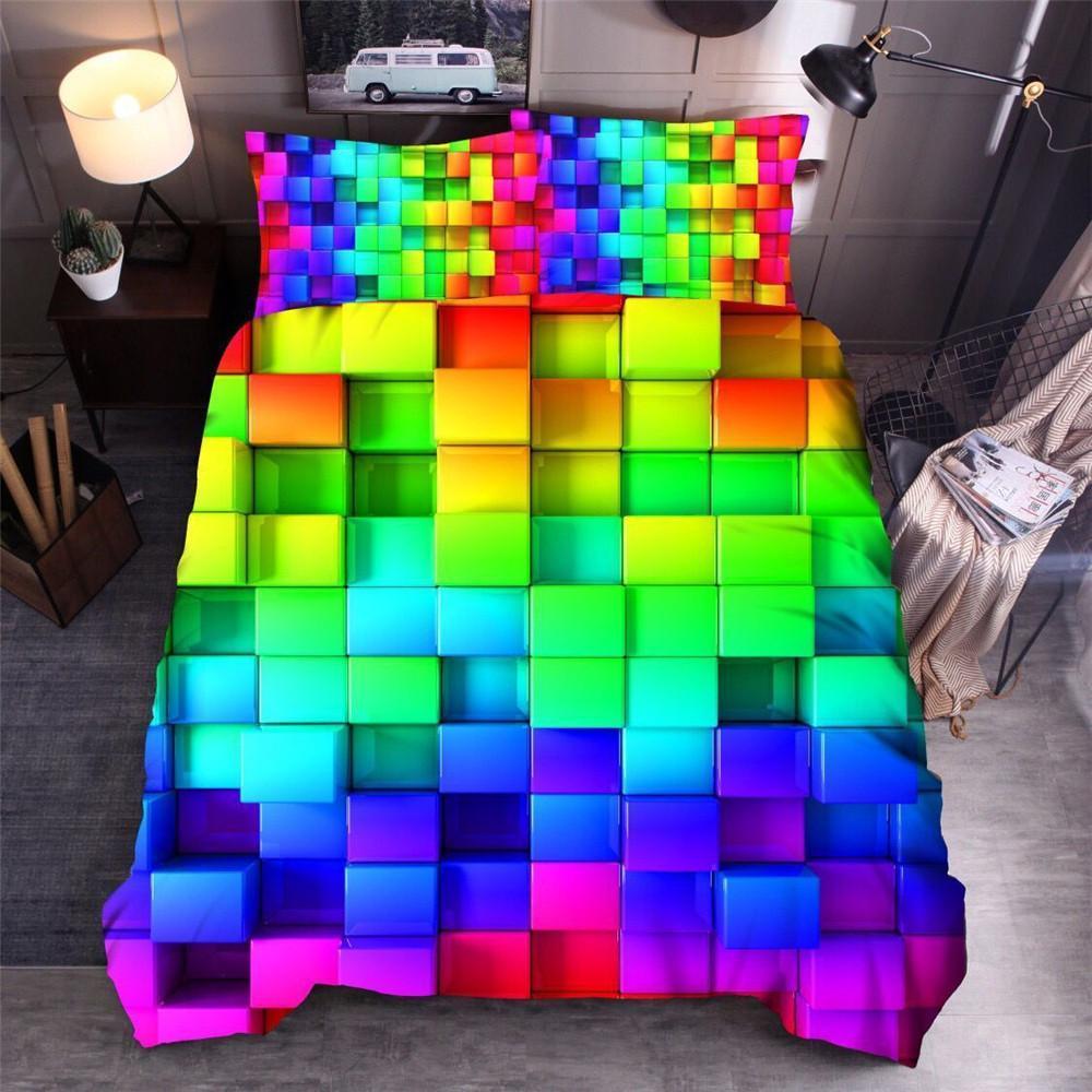 Simple moderne Impression numérique colorée Linge de lit géométrique carrée housse de couette Home Textile Set doux Literie pour adultes Lit