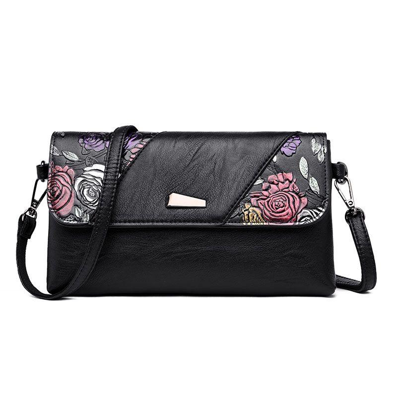 Leather Luxury Handbags Bags For Women 2018 Designer Clutch Bag Day Clutches Hand Painted Flower Women Messenger Shoulder Bag #203911