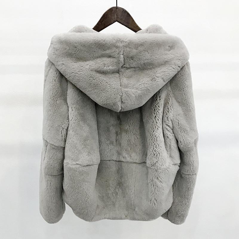 2018 Bütün cilt doğal gerçek Rex kürk giyim kadın kış kapüşonlu kısa ceket uzun kollu dış giyim ceket büyük sizeMX191009