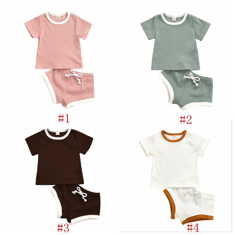 الاطفال مصمم الملابس الطفل الصيف مجموعات الملابس عارضة قصيرة الأكمام القمم الصلبة سروال بذلات القطن تي شيرت الرباط سروال تتسابق PY446