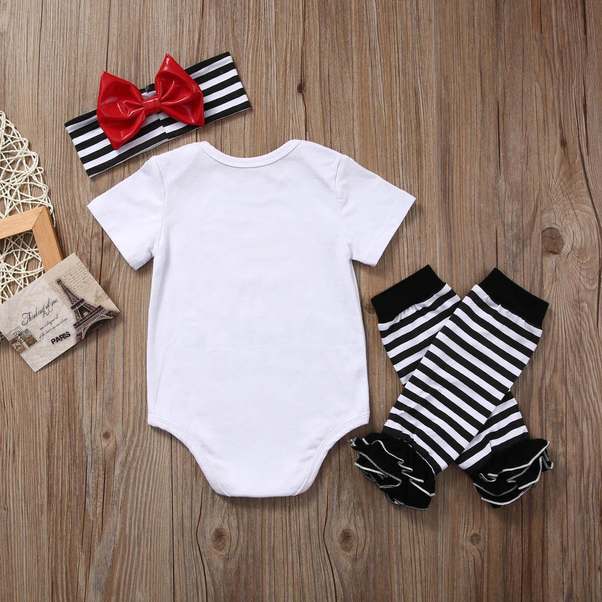 Newborn Baby Girl ESPN and Chill with My Daddy Print Short Sleeve Bodysuit+ Leg Warmers Headband 3pcs Outfit cotton clothes set