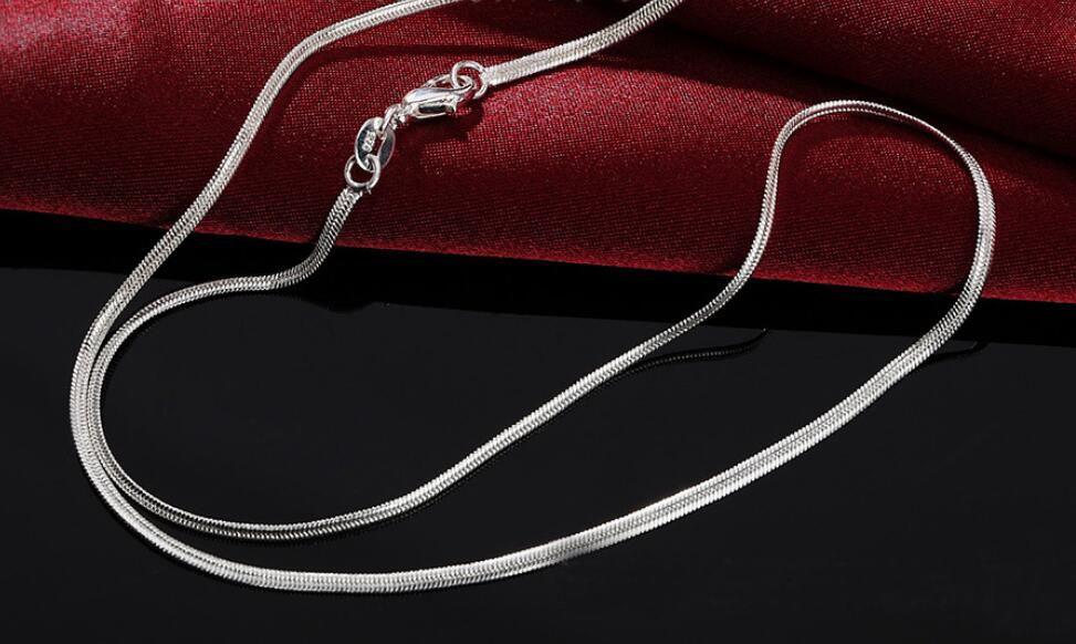 """Мода мужчины ожерелье стерлингового серебра 925 2 мм плоский змея цепи ожерелье 16""""/18""""/20""""/22""""/24"""" /26""""//28"""" /30"""" для подвески 10 шт. / лот"""