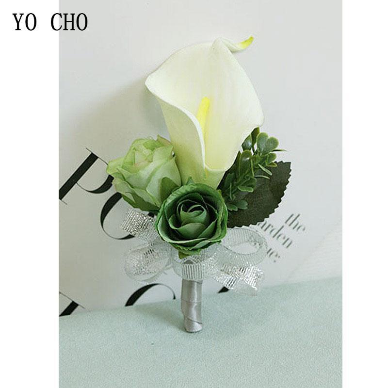 2020 Yo Cho Artificial Boutonniere Pu Calla Lily Flower Wedding