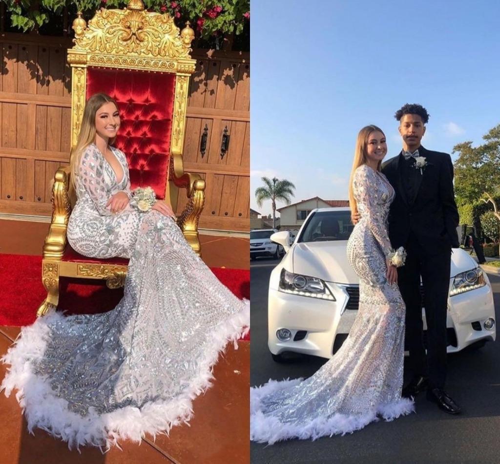 2020 Piume di lusso lustrini argento arabo sirena di promenade del manicotto lungo Sexy scollo a V promenade abbiglia Black Girls Occasione Party Dress