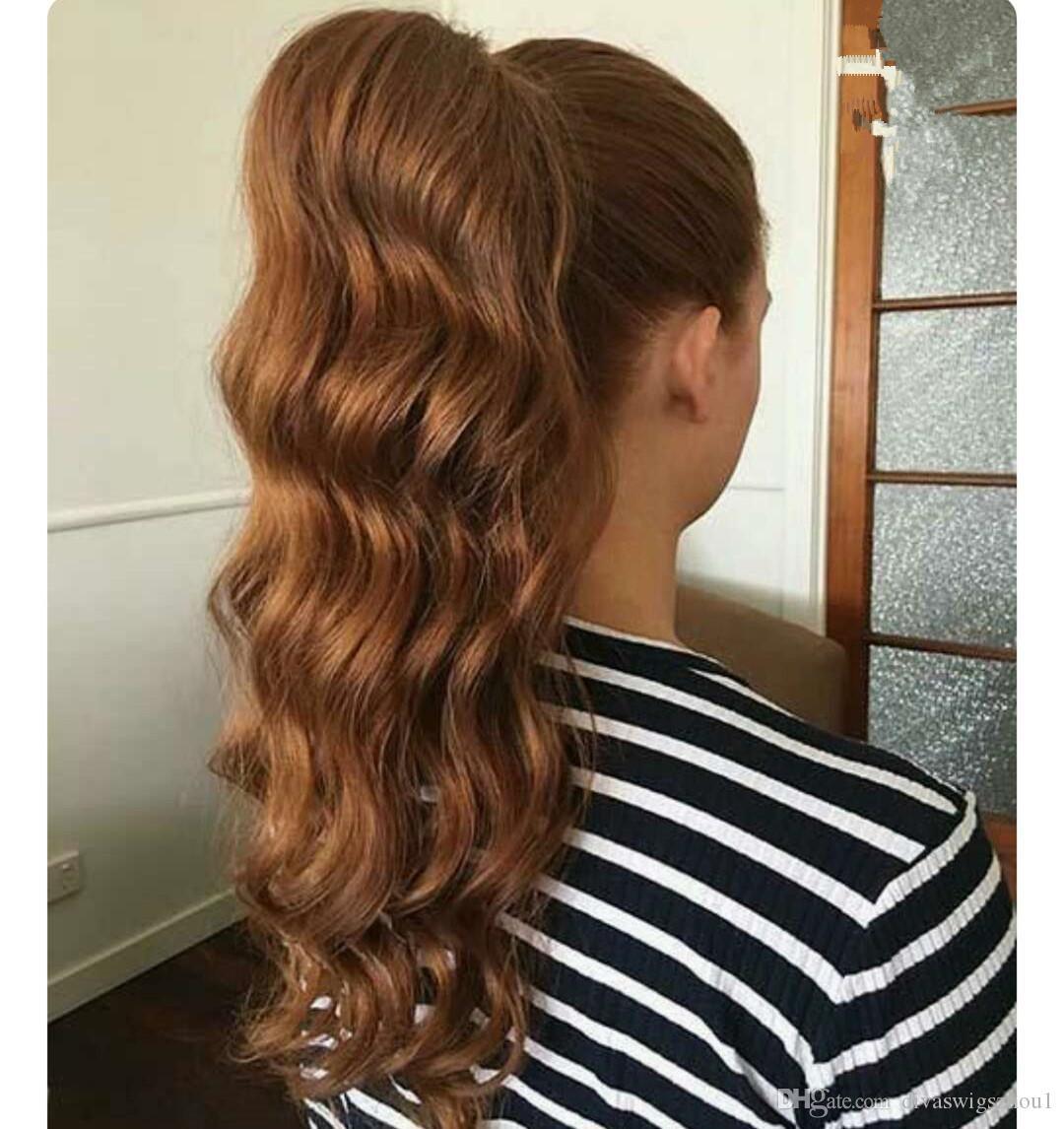 Kadın HairPiece At Kuyruğu Dalgalı Sarışın 27 # Renk İnsan Saç Uzantıları 20 inç 100g-140g Sarışın 27 # Renkler DAİREMİZ