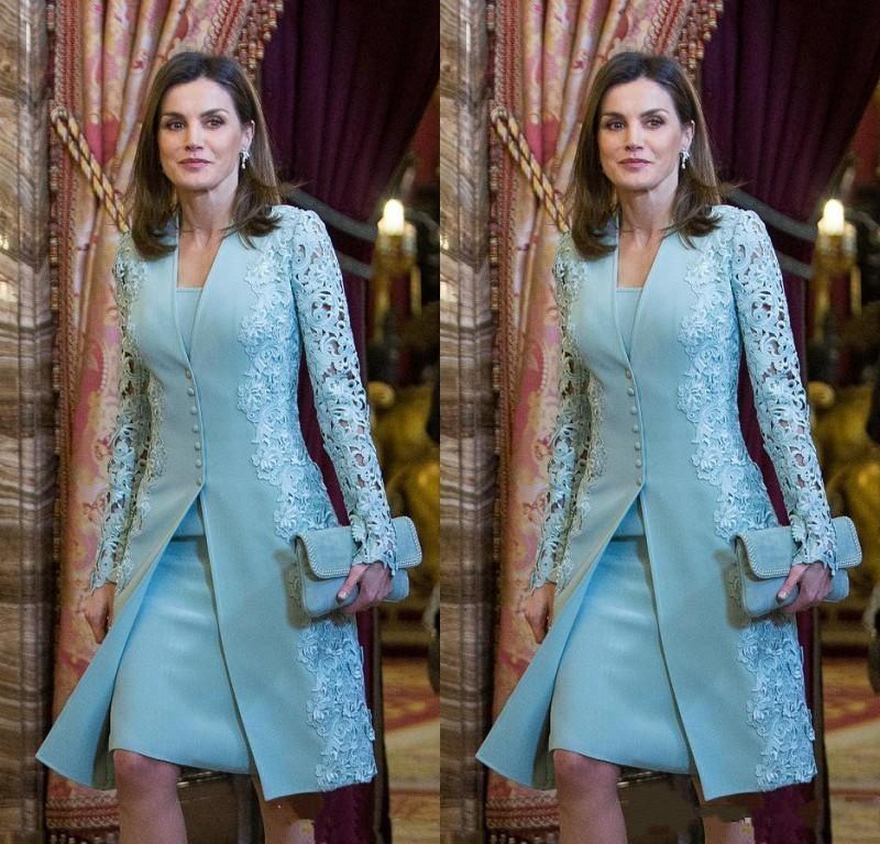 Elegant Blue Short Sheath Mother Of Bride Dresses Long Sleeve Mother of Groom Dress For Wedding Wedding Guest Dress Formal Evening Gowns