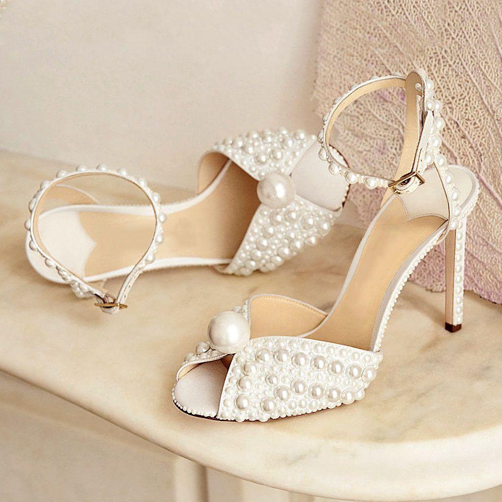 Neueste weiße Perlen verzierte Sandale Schuhe für Hochzeit Peep Toe Fahion Frauen Schuhabsätze 10cm Größe 34-39 Kostenloser Versand