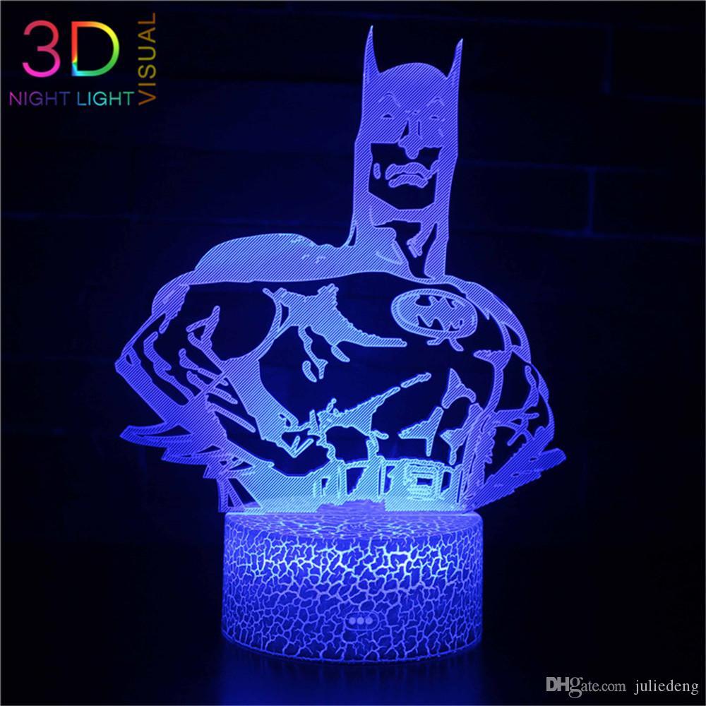 Luci visivi ZOEY 7 colori Batman lampada 3D LED Night for Kids Touch USB Tabella Lampara Lampe bambino addormentato Nightlight Star Light