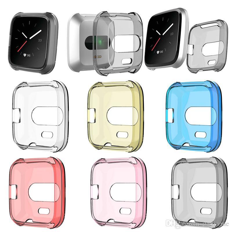 Защитные чехлы для Fitbit versa Lite Ultra Slim Мягкий протектор ТПУ Смарт-часы Крышка случая Перевозка груза падения