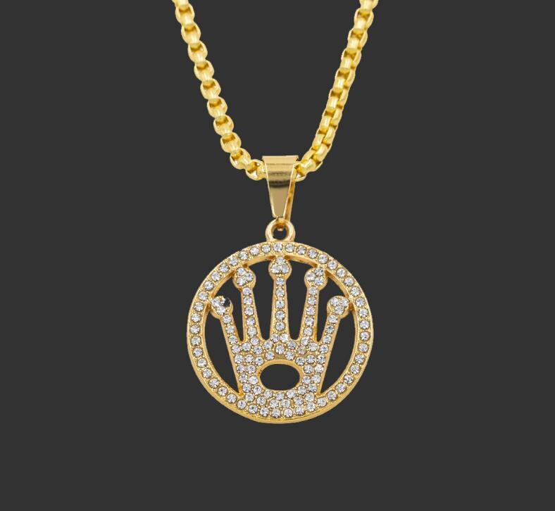 Wholesale Hip Hop Necklace Gold Color Alloy Men Round Pendant Inlay Rhinestone Necklace Hiphop Round Crown Franco Chain Mens Gold Chains Necklace Charms From Versace2020 9 05 Dhgate Com