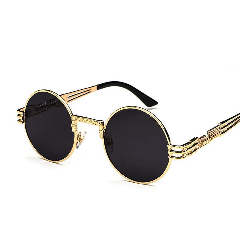 Gotik Steampunk Güneş Erkekler Kadınlar Metal WrapEyeglasses Yuvarlak Tonları Marka Tasarımcısı Güneş gözlükleri Ayna Yüksek Kalite UV400