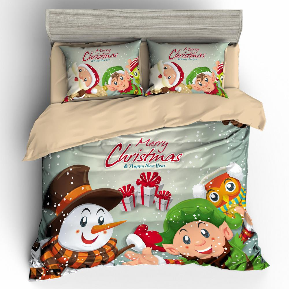 عيد ميلاد سعيد كيد سرير البياضات مجموعة كارتون لطيف الكلاب القطط أغطية الأطفال هدية عيد الميلاد سانتا غطاء لحاف مجموعة