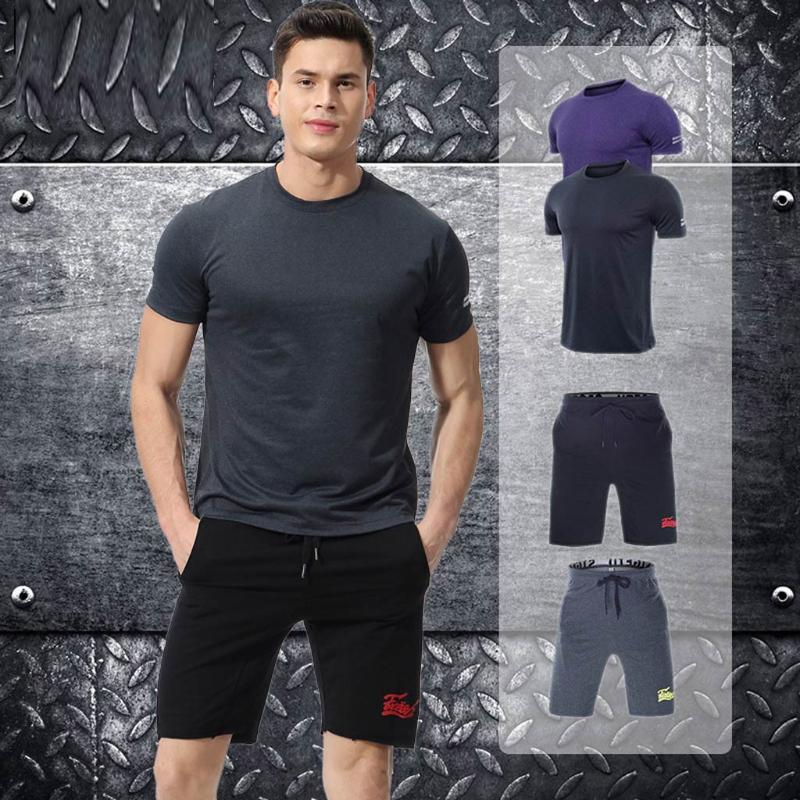 Men's Tracksuits 2021 Fashion Summer Short Sets Elastic Fitness T-shirt Fast Drying Tops Pants Sports Tight Suit Z0404