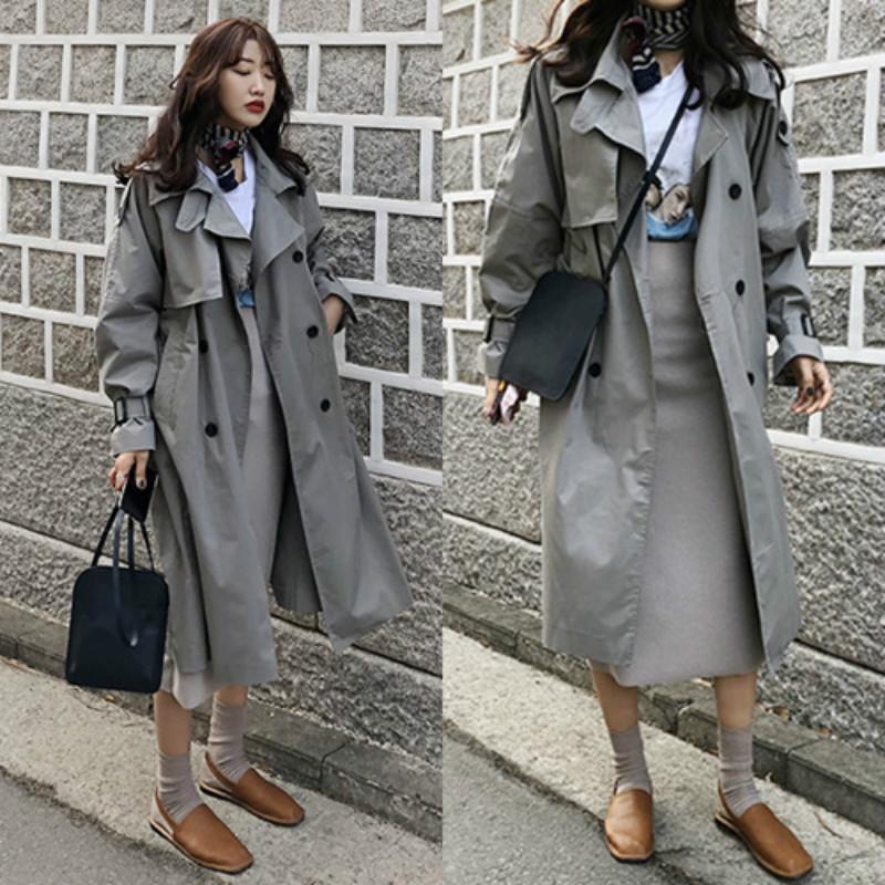2019 Kore Kadınlar Siper Bahar yağmurluk Kruvaze Uzun Vogue Rüzgarlık Ceket Bayan Moda Kadın Palto Katı Harajuku