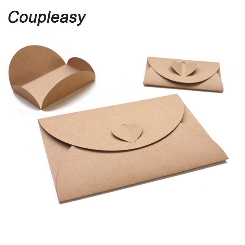 30pcs 2 tailles vierges en papier kraft Enveloppe Rétro amour boucle Enveloppes bricolage coeur romantique Enveloppe vintage carte-cadeau Enveloppes