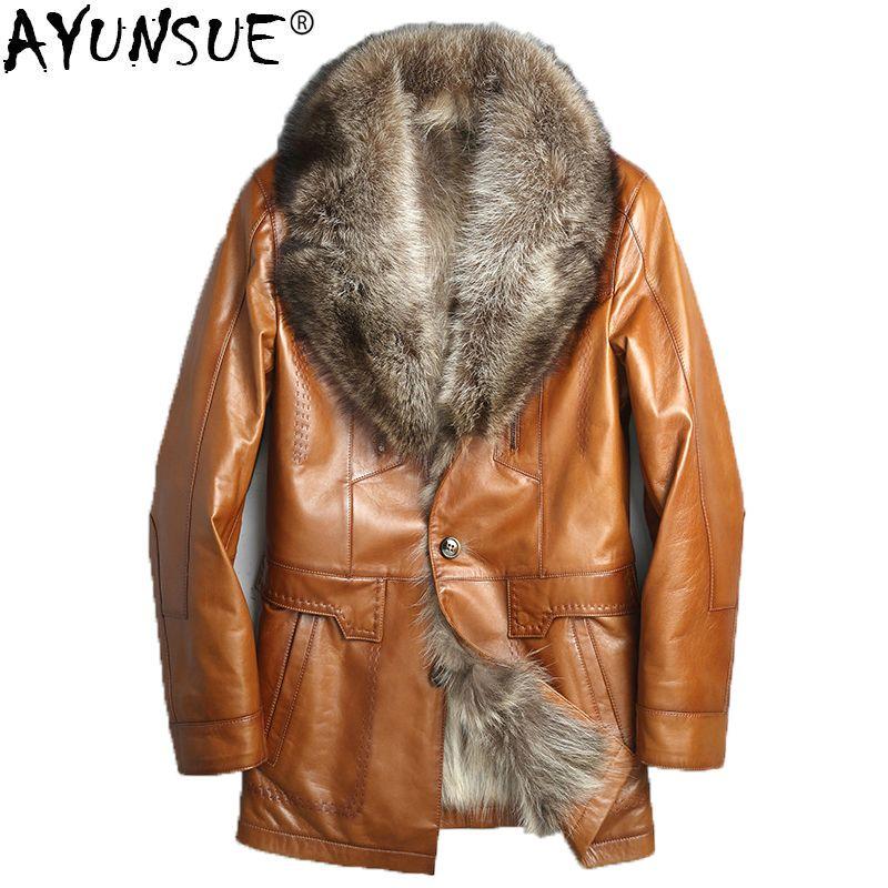 AYUNSUE Winter Echte Lederjacke Männer Echten Waschbären Pelz Liner Schaffell Mantel für Männer Warme Parka Chaqueta Cuero Hombre KJ1329