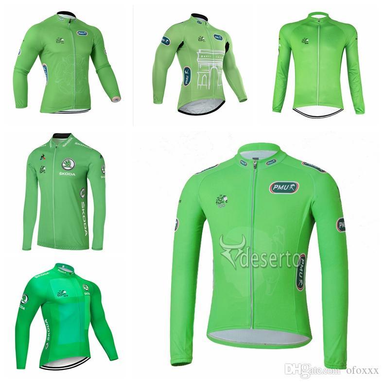 프랑스 투어 팀 사용자 정의 만든 자전거 긴 소매 저지 남성 녹색 긴 소매 봄 가을 야외 스포츠 저지 셔츠 S81914