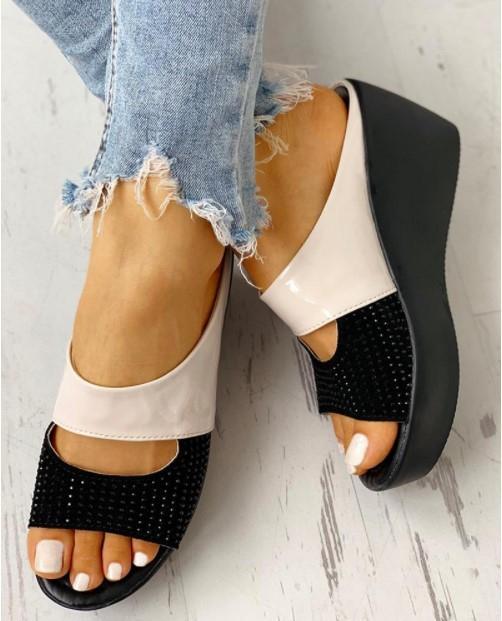 Sandalias de las mujeres acuña los zapatos para las mujeres zapatos de tacones altos sandalias del verano de 2020 Nueva flip-flop Chaussures Femme Plataforma D30