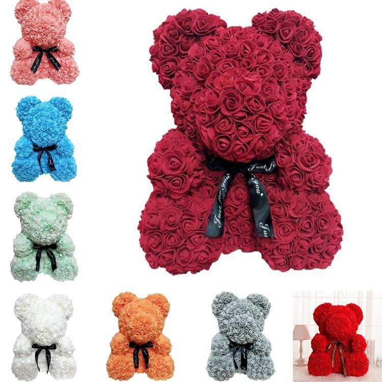 25 سم روز الدب محاكاة زهرة الإبداعية هدية الصابون روز تيدي بير هدية عيد هنغ الدب T8G018